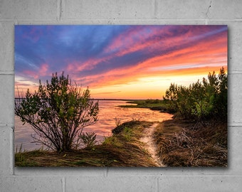 Summer Bay Sunset Large Metal Wall Art, Vivid Metal Print, Landscape Photography, Home or Office large wall decor, Ready to Hang