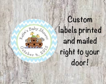 PRINTED Baby Shower Round Noah's Ark Favor Stickers - Noah's Ark Labels Party Favors Elephant, Giraffe, Lion, Turtle  **Discounts Available