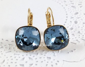 Navy Blue Earrings, Dark Blue Swarovski Crystal Cushion Earrings Nickel Free Gold Plated Earrings, Denim Blue Bridesmaids Earrings