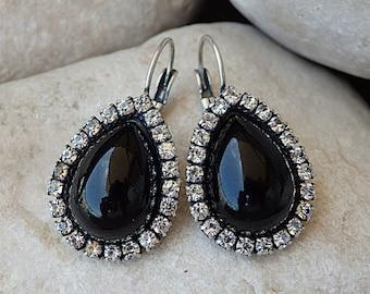 Onyx Earrings, Black Drop Shaped Earrings, Black Gemstone Earrings, Black Onyx Drop Earrings, Onyx Teardrop Earrings, Black & Clear Earrings