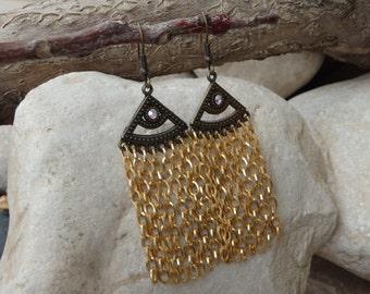 Chandelier long gold earrings. Swarovski crystal earrings. Fringes statement earrings. Long gold chain earrings . Bridal  Bohemian earrings