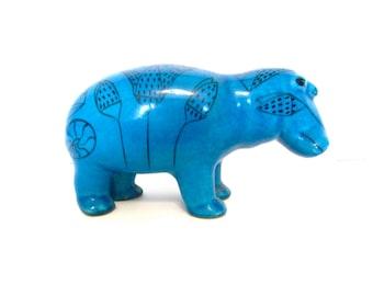 Vintage Hippopotumus, blue faience ceramic, Metropolitan Museum of Art reproduction