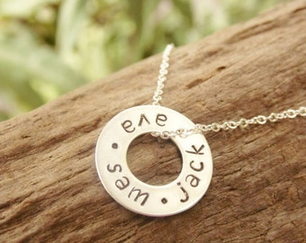 Sterling Silver Washer Necklace with Kids Names, Mommy Necklace, Shower Gift