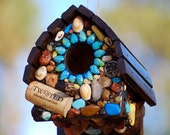 Wren Bird house with Turquoise Blues, dolphin, sea turtles, sea shells and Ocean Accents Sun Kissed Mosaic hang in tree tropical theme