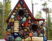 Outdoor Birdhouse Colorful Mosaic Garden Art Eco Friendly Romantic Gift Wine lover spring birdhouse
