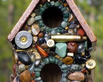 Recycled Bullet Shell Birdhouse for Hunters Oregon Duck man cave decor guns firearms durable outdoor bird house  small birds Eco friendly