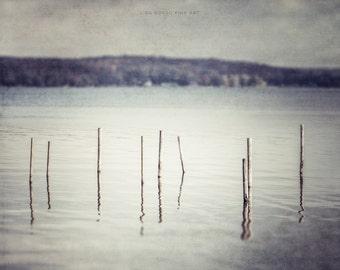 Beach Print or Canvas Art, Lodge Decor, Lake Art, Chautauqua Lake Landscape, Silver Mint Grey, Lake House Decor.