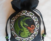 EARTHY CELTIC DRAGON - Machine-Embroidered Faux Suede Drawstring Pouch - Dice Bag, Wristlet, Tarot