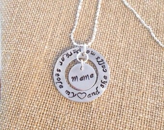 Handstamped personalized pendant necklace keepsake sterling chain affirmation