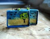 Hand embroidered, fabric, fabric, textile, nature , tree, box,geometric,fiber art, fabric art - Landscape