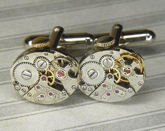 Men's Silver Cufflinks Steampunk Cuff Links - Torch SOLDERED - Vintage Oval Watch Movements w Original Crowns - Wedding Anniversary Gift