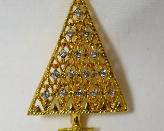 Vintage gold christmas tree brooch with clear rhinestones, simple classic, holidays, Christmas, tree costume jewelry, Christmas jewelry