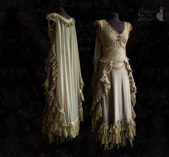 Gown Art Nouveau Wedding Victorian Olive By SomniaRomantica