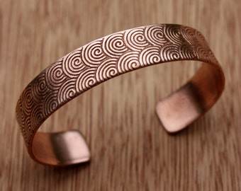 Spiral Copper Cuff Bracelet - Spiral Pattern Solid Copper Cuff - 7th Anniversary Gift - Hand Forged Copper Bracelet - Two Feathers Jewelry