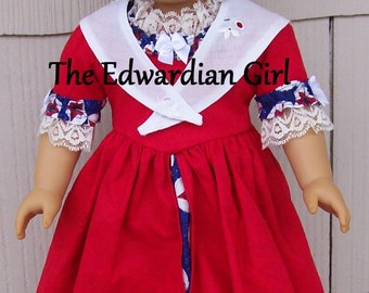 OOAK patriotic Colonial day dress. Fits 18 inch play dolls such as American Girl, Springfield, OG. Red, white, blue 1770s dress. Made in USA