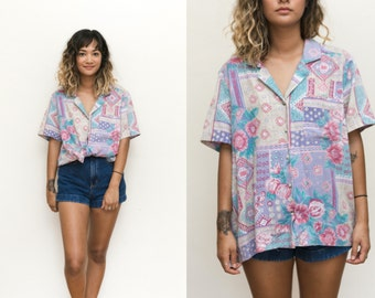 50s Pastel Button Up / Abstract Novelty Print Blouse / Ethnic Shirt / Short Sleeve Collared Shirt / Pastel Floral Print Mod Blouse