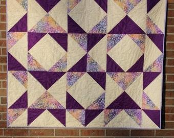 Modern Homemade Purple Patchwork Throw Quilt