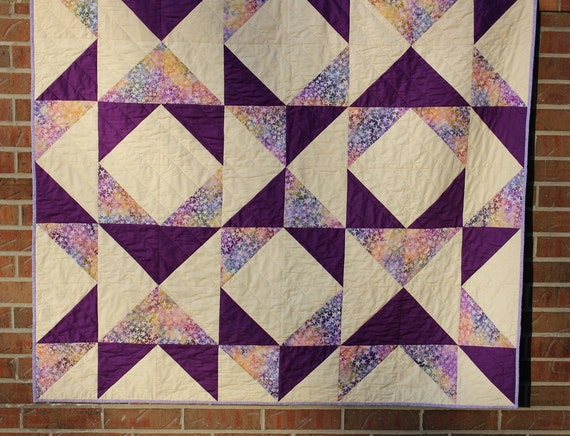 Purple Batik Patchwork Quilted Throw
