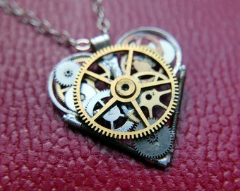 "Clockwork Heart Necklace ""Poe"" Steampunk Watch Gear Industrial Heart Pendant Sculpture Gershenson-Gates Mechanical Mind Gift Idea"