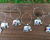 USA Republican elephants wine glass charms political red white blue -  America Election