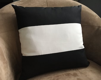 Nautical Pillow Black and White Stripe Indoor Outdoor Fabric  Pillow Cover