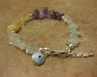 evil eye bracelet, multi quartz bracelet, gemstone bracelet, Jewish bracelet, Jewish , wedding gift, engagement gift, gemstone jewelry,