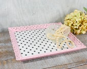 Shabby chic Vanity tray / dresser tray / distressed / pink / white with black polka dots / nursery decor / nursery tray /upcycled