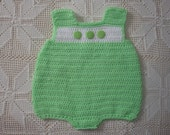 6-9 Month Crochet Mint Green and White Onesie Bubble Suit