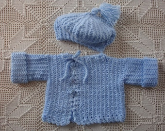 Newborn - 3 month Crocheted Baby Blue Sweater and Tam Set with Elephant Buttons