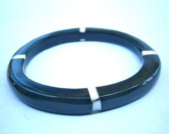 "Vintage Buffalo Black Horn Bangle Water Tribal White Mother Of Pearl Inlay Bracelet MOP Inlaid Carabao 8mm Thick 7"" Inch Circumference Stack"