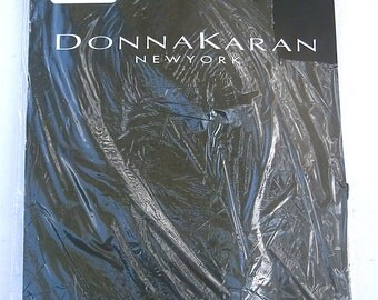 Vintage Black Opaque Pantyhose Style F82 Donna Karan Hosiery Seamless Sheer Silky Medium 5 Feet 4 Inch Up To 6 Feet 120 Pounds Thru 150 Lbs