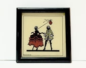 Miniature Silhouette picture young courting couple, 18th century man and woman w/ paper lantern, lacquered wood frame, C&A Richards