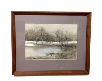 Vintage Watercolor Painting, Winter Landscape pond with reeds, signed dated 1977