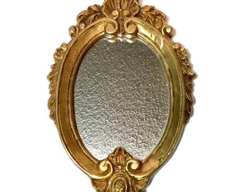 Vintage Italian Florentine Gilt Wood Wall Mirror, c1950  Hollywood Regency