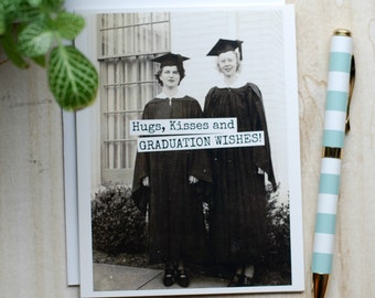 Card #354 - Hugs, Kisses And GRADUATION WISHES - Blank Inside Greeting