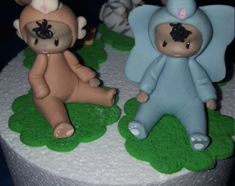 6 cold porcelain Jungle/ safari baby  cake toppers