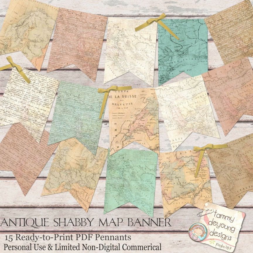 Antique Map: Old World Map Banner Antique Map Garland Shabby World Map