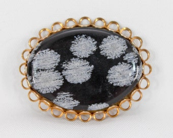 FREE SHIPPING! Vintage Antique Real Black Snowflake JASPER Oval Pin Brooch Gold Tone Brass Color