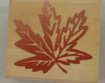 Rubber Stampede Maple Leaf A2205E Fall Autumn  Wooden Rubber Stamp