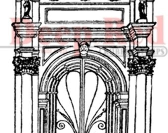 Deep Red Rubber Stamp Grand Palace Doorway
