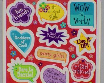 Hallmark Cards Heartline Vintage Sticker Pack New Words and Quotes Phrases