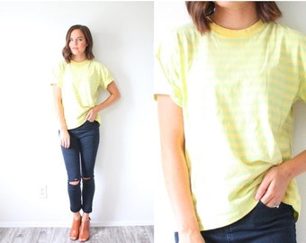 20% OFF BIRTHDAY SALE Vintage retro striped shirt // green and yellow striped top // short sleeve summer blouse // retro shirt // nautical t