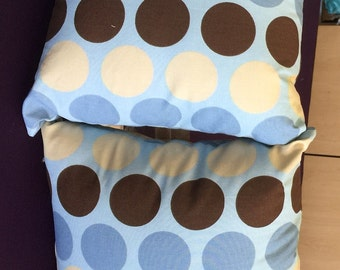 2 fun polka dot Indoor outdoor  Nursery  Neutral Colors  throw Pillows 16 x 16 with Insert Included