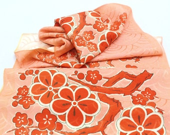 Vintage Japanese Silk. Obi Fabric. Red and Pink Plum / Cherry Blossom Floral (Ref:1220A)