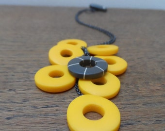 Yellow hoop pendant - resin hoops