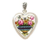 Broken China Jewelry Pink Roses & Flowers is a Blue Garden Urn Sterling Heart Pendant