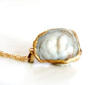 30% OFF Raw Druzy Necklace - Natural Agate Druzy Pendant Necklace - Sparkle White - DGN19