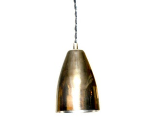 Modern Chrome Cone Shade Pendant Light - Also available in brass & antique brass shades