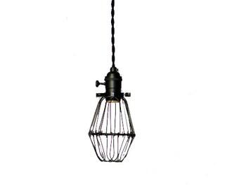 Blackout Simply Modern bare bulb caged Edison pendant light in All BLACK