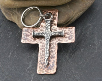FATHERS DAY GIFT, Rustic Cross Keychain, Sterling and Copper, Customizable, Husband Birthday Gift, Son Graduation Gift, Baptism Gift for Man